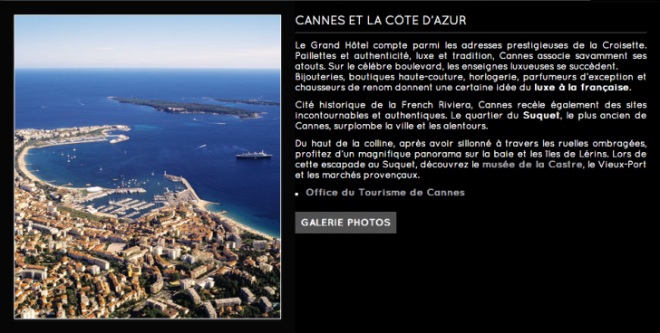Site internet Grand Hotel Cannes